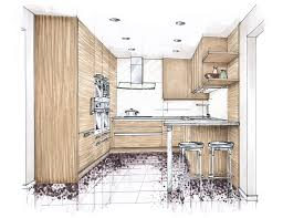 Interior Design Sketches by Koor Color Marker Rendering Kitchen Wood Marker Rendering