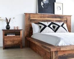 solid wood platform bed frame customizable available in