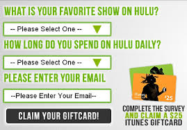 survey for gift cards free 25 itunes gift card hulu survey free gift cards