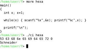 how to convert ascii hexadecimal code to letters in c language