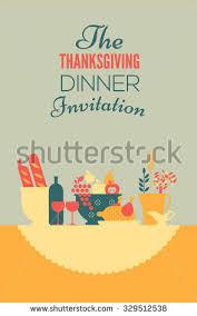 thanksgiving dinner invitation template table setting stock vector