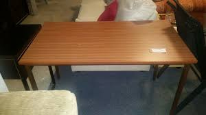brown table with black metal legs east thames furniture recycling
