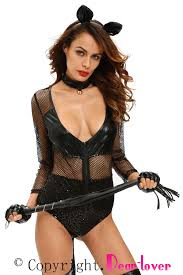 Halloween Costume Womens Midnight Cat Costume Deep Neck Black Halloween