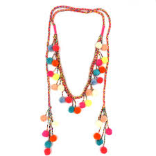 beaded necklace tattoo images Women colthing accessories bohemian pompoms charm long beaded jpg