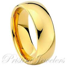 gold wedding band mens tungsten carbide 18k gold dome wedding band comfort fit mens