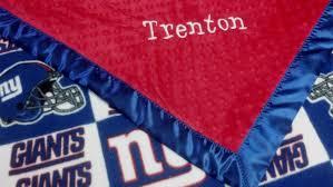 Ny Giants Crib Bedding Personalized New York Giants Football Fleece And Minky Baby