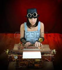 and steampunk style future typewriter hand home made model
