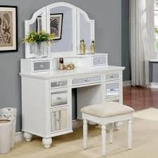 Bobkona St Croix Collection Vanity Set With Stool White Silver Bedroom Furniture For Less Overstock Com