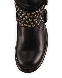 short moto boots frye jenna studded tall moto boot in black lyst