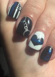 for the love of my leo thin blue line nail art manicure for