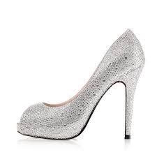 cheap silver wedding shoes high heel peep toe rhinestone prom silver wedding shoes cheap