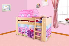Cartoon Bunk Beds by Foxhunter Wooden Mid Sleeper Cabin Bunk Bed Kids Tent Single 3ft