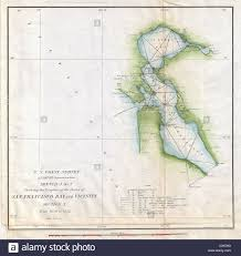 San Francisco Bay Map by 1853 U S Coast Survey Map Of San Francisco Bay California Stock