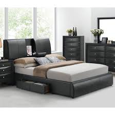 acme 21266ek kofi black pu king storage bed w headboard drop tray