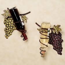 wine valley grapes metal wall wine rack set