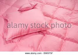 Duvet Without Cover Pink Fluff Duvet With Pillows Without Cover Stock Photo Royalty