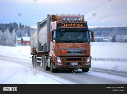 big volvo truck salo finland january 16 2016 volvo fh silo transport truck