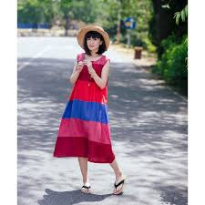 colorful thick striped sundress linen chinese button resort dress