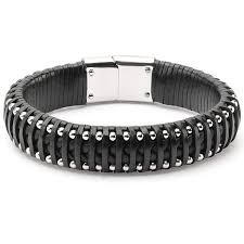 men black leather bracelet images Cheap black leather bracelet for men find black leather bracelet jpg