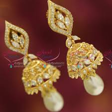 gold jhumka earrings design with price j3434 cz white delicate design pearl drops gold plated jhumka