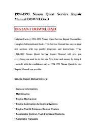 nissan micra owners manual pdf 1994 1995 nissan quest service repair manual download