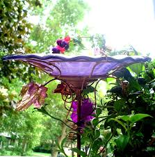 iridescent violet bird bath copper stained glass garden art