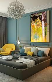chambre jaune et bleu peinture murale décor en gris jaune et bleu chambre bleu canard