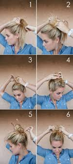 simple hairstyles with one elastic messy bun for busy weekends what makes me pinterest quick