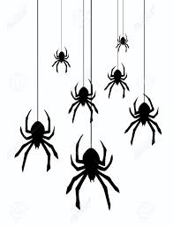 vector illustration of hanging spiders royalty free cliparts