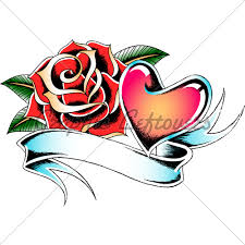 rose heart tattoo design gl stock images