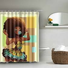 Shower Curtains Black Afro Shower Curtain Waterproof Baixin Black