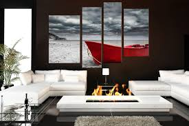 Living Room Art Canvas by 4 Piece Large Pictures Red Boat Canvas Photography Black And