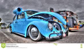 blue volkswagen beetle vintage custom designed vw beetle with swamp cooler editorial image