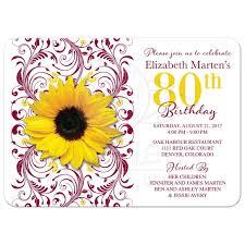Avery Invitation Cards Burgundy Yellow Sunflower 80th Birthday Invitation