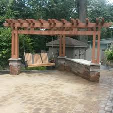 5500 triangle shaped pergola with poly lumber swing and 8