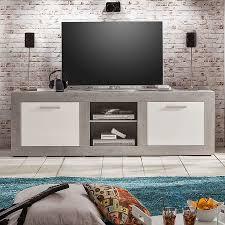 banc beton cire meuble tv style moderne effet béton ciré et blanc laqué