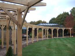 traditional oak pergola with curved beams pergolas beams and