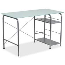 Glass Desk With Storage Buy Glass Office Desk From Bed Bath U0026 Beyond
