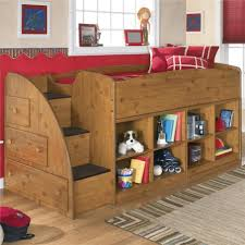 loft bed with closet underneath with red mattress plus pillow and