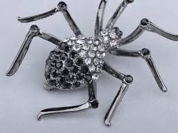 genuine creepy halloween czech crystal rhinestone black widow