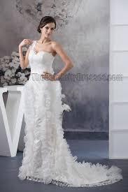 trumpet mermaid one shoulder lace sweep brush train wedding dress