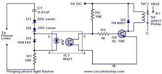 visual phone ringer light ringing phone light flasher electronic circuits and diagrams