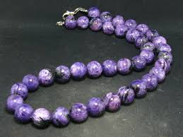 benitoite necklace charoite necklace 12mm round beads from russia 20