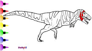 how to draw t rex dinosaur in jurassic world and dinosaur coloring