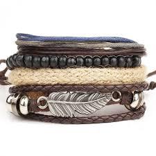 leather bracelet woman images 1 set 4pcs leather bracelet men 39 s and woman multi layer bead jpeg