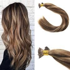 keratin tip extensions brown mixed 4 27 remy stick tip human hair