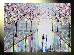 original art abstract paintings couples umbrella