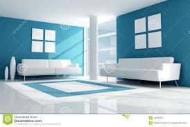blue and white modern living room royalty free stock photography