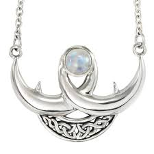 silver moon necklace pendants images Sterling silver celtic knot crescent moon necklace rainbow jpg
