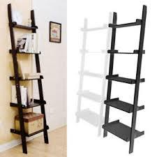 70 inch 5 tier wood leaning ladder shelf bookcase bookshelf